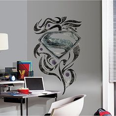 RoomMates RMK2263SLM  Superman Man Of Steel Stylized Logo Peel and Stick Giant Wall Decals -- You can find more details by visiting the image link. (Note:Amazon affiliate link)