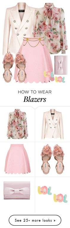 """High tea outfit"" by yiekyen on Polyvore featuring Balmain, Dolce&Gabbana, Alexander McQueen, Kenneth Jay Lane, pastel, weartowork and pinkcontest"