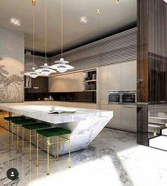 Modern kitchen design 😱 What are your thoughts on it? Luxury Kitchen Design, Kitchen Room Design, Kitchen Cabinet Design, Home Decor Kitchen, Interior Design Kitchen, Modern Interior Design, Kitchen Furniture, New Kitchen, Contemporary Kitchen Interior