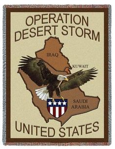 Personalized US Desert Storm Military Tapestry Throw