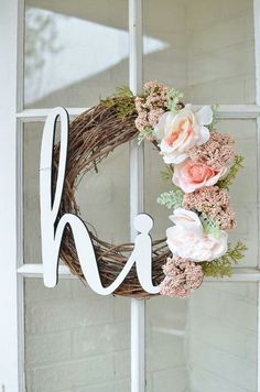 Sweet and welcoming spring wreath for your front door.