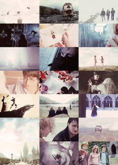 """Gryffindor vs. Slytherin • after the dragon ride • coming from the Three Broomsticks • hiding from the Werewolf • a letter from no-one • seeing Voldemort on Platform 9 3/4 • Department of Mysteries • Lupin on the train • the Evans sisters • """"Love, Harry. Love."""" • the Yule Ball • in the cave • the Tale of Three Brothers • watching Krum • Hedwig in winter • at the graveyard • farewell to Dobby • flying to Hogwarts • after the battle • Sectumsempra • Buckbeak's execution"""