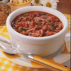 "This was pinned as, ""the BEST Chili #Recipe I've tried and tasted: Great great great spicy chili."" and HOLY MOLY- YES! (LOVEDit)  Subbed a few things to fit our tastes (black and chili beans instead of kidney, fire roasted tomatoes instead of stewed, serranos instead of jalapenos, tomato soup instead of tomato paste)..  The recipe itself is simple tho!  And so good!"