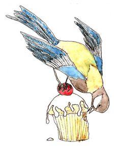 Bird Eating Cake - Mellor Ware by Lianne Mellor