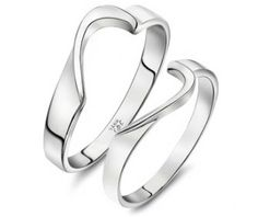 His and Her Wedding Rings Set Two Half Hearts Puzzle Piece 925 Sterling Silver