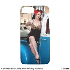 Pin Up Hot Rod Chevy Pickup Girl redhead betty iphone phone case