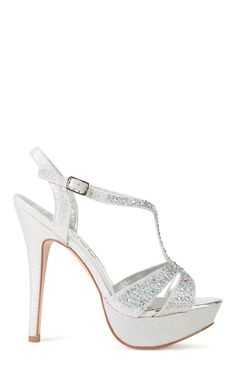 Deb Shops platform peep toe loop front and rhinestones $46.50
