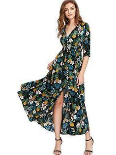 Flowy Party Maxi Dress Milumia Women's Button Up Split Floral Print