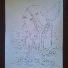 #WIP #AceOfCups #Lindsay #SeventyEightTarot #78Tarot #Tarot #Woman #Drawing #Water #Lotus #Dove #Goddess #Illustration #Sketch #Portrait https://www.facebook.com/FaerieMajikk