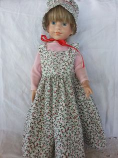 Doll Dress 2Pc 1800s Country Prairie American Girl with matching Bonnet Set USA Handmade Arvilla Ruby AG Clothing Vintage Style Frontier