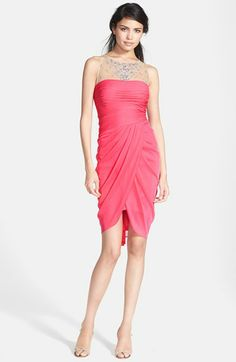 Adrianna Papell Embellished Yoke Draped Mesh Dress available at #Nordstrom