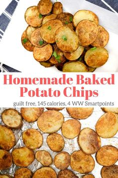 These Baked Potato Chips are baked in the oven until they are crispy and crunchy for a healthier version of traditionally fried chips. Season them up any way you like for a homemade potato chip that is good for you, easy to make, and seriously tasty. Oven Potato Chips, Homemade Baked Potato Chips, Making Baked Potatoes, Potatoes In Oven, Baked Potato Oven, Healthy Potatoes, Potato Recipes, Homemade Chips In Oven, Home Made Potato Chips