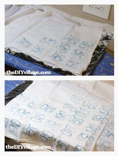 Anthro Inspired Hand Stamped Tea Towel - with towels from Wal-Mart - what a great idea
