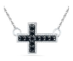 Zales Enhanced Black Diamond Accent Block Sideways Cross Necklace in Sterling Silver - was $99.0, now $84.15 (15% Off). Picked by amyb @ eBay