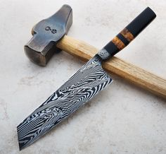Integral Damascus Nakiri 195mm custom chef knife handmade by Nick Anger.