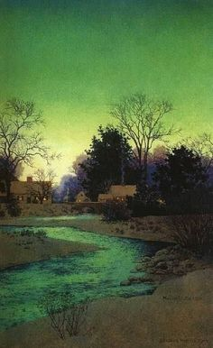 """""""Peace at Twilight"""", 1945, detail Maxfield Parrish, (American, 1870-1966)"""