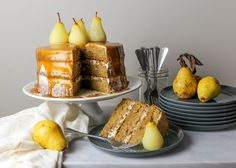 Spice Cake with Salty Caramel and Riesling Poached Pears