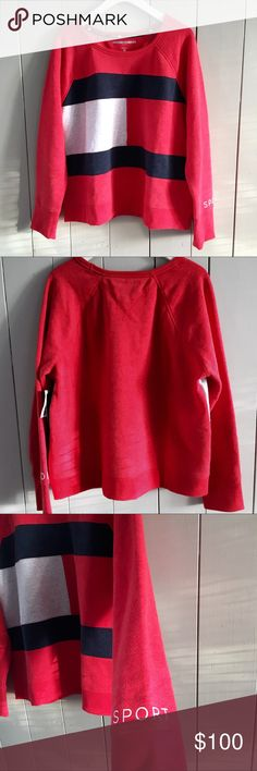 "Tommy Hilfiger Small Sweatshirt Red Logo Sweater Tommy Hilfiger Womens Small Sport Sweatshirt Red Logo Sweater Pullover Sz Small Size small Pit to pit 19"" Top to bottom 23"" 60 % cotton 40 % polyester Tommy Hilfiger Sweaters Crew & Scoop Necks"