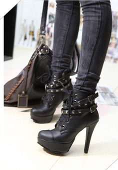 CELEBS BLACK BUCKLE AND STUDS BOOTS (6 INCH HEEL) 1041  http://www.discountcelebcloset.com/celeb-style-boots-shoes/heels/