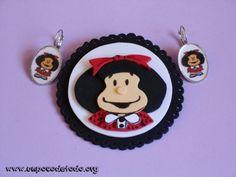 www.unpocodetodo.org - Broche y pendientes de Mafalda  - Broches - Pendientes - Goma eva