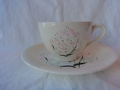 Harkerware Cup and Saucer Cream background pink flowers gray leaves Ohio USA by GrandmothersTable on Etsy Cup And Saucer, Pink Flowers, Tea Cups, Ohio Usa, Cream, Retro, Unique Jewelry, Handmade Gifts, Tableware