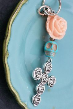 Sugar Skull Jewelry Day of the Dead Orange Blush by VivaGailBeads, $14.00