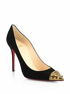 Christian Louboutin Geo Suede Studded Cap-Toe Pumps - Like, not 100% about the suede..and the studs are not timeless so not sure about these.