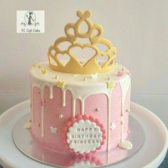 Simple princess dripping cake