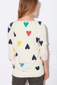 sketchbook sweatshirt filled with hearts. great DIY idea for a lovely sweater.