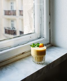 Mango, blood orange and banana smoothie
