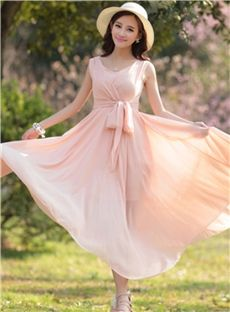 6c77a2a4236 Sweet Candy Color Bow Knot Slim Sleeveless Maxi Dress Modest Dresses