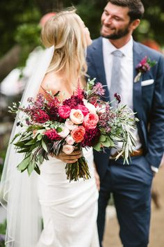 San Diego nursery wedding -DIY San Diego nursery wedding - REAL WEDDINGS: AMBER + BRIT — Noonan's Wine Country Designs Grey bridesmaid dresses with a stunning red bouquet will be sure to make your wedding party pop! Bridal Flowers, Flower Bouquet Wedding, Floral Wedding, Wedding Colors, Pink Flowers, Bouquet Flowers, Red Roses, Dream Wedding, Wedding Day
