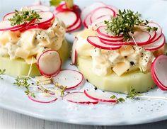 Kedlubna se sýrovým salátem a ředkvičkami
