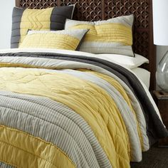 Yellow & grey is a fab bedding color palette
