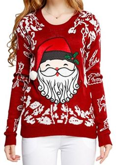 2ebd393b Ugly Christmas sweater, Women Girls ladies Reindeer Fun Cute Knit Sweater  *** To view further for this item, visit the image link.
