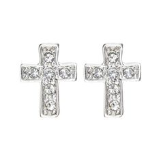 Magic Collection 18k Yellow/White Gold Plated Cubic Zirconia Cross Design Stud Earrings (18k White Gold Plated) - 18k, Collection, Cross, Cubic, Design, earrings, Gold, Magic, Plated, Stud, White, Yellow, Zirconia