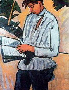 reader - from painter Mikhail Larionov. A Portrait of the Poet Velimir Khlebnikov. St Pétersbourg Rússie, Avantgarde, Avant Garde Artists, Art Database, Oil Painting Reproductions, Naive Art, Modern Artists, Silver Age, Russian Art