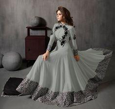 Grey Floor Length Pakistani Suit - Anarkali Suit   Zakasi.com
