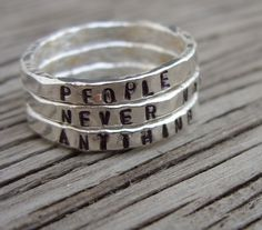 Made to order ONE fine silver stacker ring hand by beadsoul, $20.00 personalized fun!
