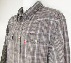 Men Levis Levi s Strauss Western Cowboy Shirt Pearl Snaps Long Sleeve sz Large