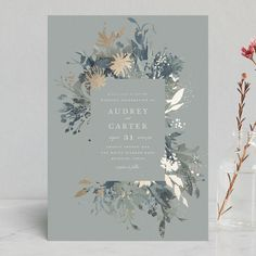 """Fantasy"" - Foil-pressed Wedding Invitations in Noir by Lori Wemple. Floral flowers garden botanical outdoor outside custom Minted green watercolor blue gray grey #flowergarden"