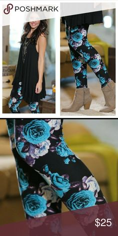 Coming soon(: floral print leggings Black/blue/purple floral print leggings. 92%polyester 8%spandex.  These are one size fitting 2-12 comfortably. Looks so cute with a long black top, dress up or dress down.  Must have for every wardrobe(:  Like now and I will notify you when these come in(: Infinity Raine Pants Leggings