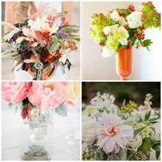 Reutiliza cualquier envase o recipiente para alojar tus flores preferidas.