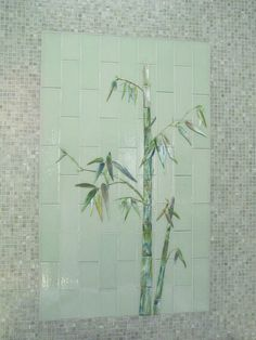 Fused glass bamboo tile mural overlooking Japanese soaking tub|Designer Glass Mosaics