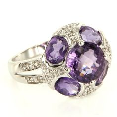 Estate 14 Karat White Gold Diamond Amethyst Cocktail Ring Fine Jewelry Pre-Owned