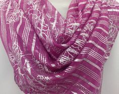 Check out Magenta Orchid silk square shawl, Wedding Gift, Festive Colorful Sarong, Best friend gift, Gift for coworker,Birthday gift,  Boss gift on blingscarves