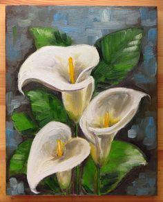 Calla Lilies Original Art Flowers White Flowers by MikiMayoShop