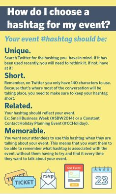https://blogs.constantcontact.com/hashtag-event-engagement/?cc=SM_PIN_ConstantContact Ever feel stumped on your event's hashtag?  @constantcontact shares tips on how to create a hashtag for your event! @reinventevents #EventProfs #EventPlanning #Events #EventTips #Hashtag