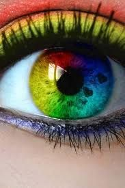 Seriously, how cool are these?!? rainbow colored contact