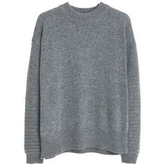Mango Wool-Blend Jumper , Medium Grey found on Polyvore featuring tops, sweaters, shirts, sweatshirts, medium grey, long sweaters, gray shirt, grey jumper, grey sweater and long grey shirt